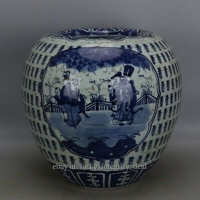 Fine Chinese Antique Blue and White Porcelain Cover pot jar