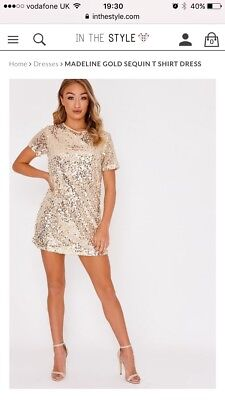 6ae7b62f IN THE STYLE ladies sparkly gold sequin dress size 8 - $6.64 | PicClick