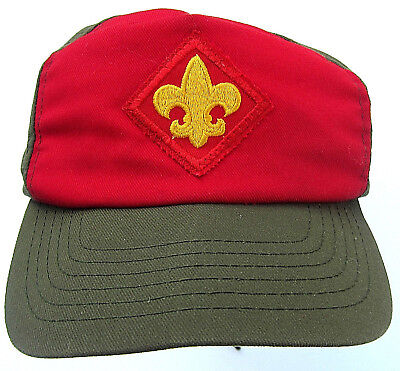 BOY SCOUT CAP Camp Green Red Twill cotton HAT M/LG Adjustable Snapback