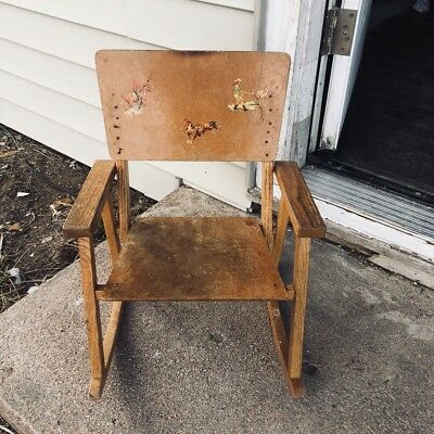 Vintage Child's Wooden Rocking Chair Perhaps Homemade