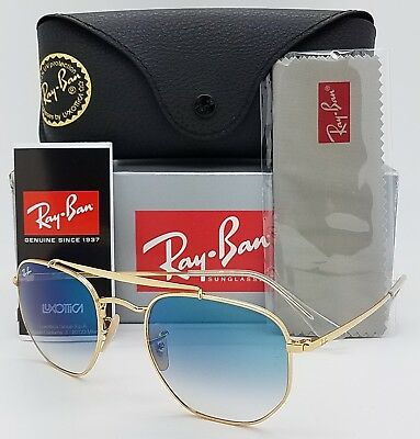 2b7e7a6633 NEW Rayban Marshal sunglasses RB3648 001 3F Gold Blue Gradient 3648  AUTHENTIC