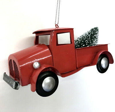 RETRO TRUCK | Pickup Christmas Tree Ornament Rustic Red Bed Metal Hauling