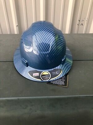 Blue Carbon Fiber Hydro Print Full Brim Hard Hat Added Air Vents ANSI/ISEA Z89.1