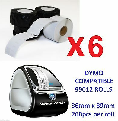 6 x QUALITY LABELS FOR DYMO LABELWRITER (DYMO CODE 99012) LABELS 36mm x 89mm 450