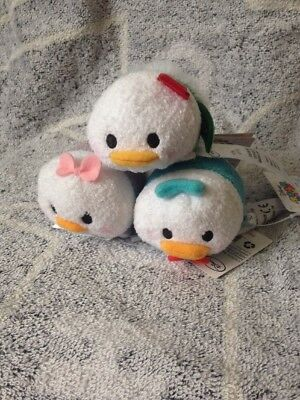 Set of 3 Disney tsum tsums Donald & Daisy Duck & Christmas Donald mini plush NEW