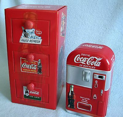 2 Coca Cola Coke Tins 2003 VENDING MACHINE & 3 Pull Out DRAWERS CHEST NICE!