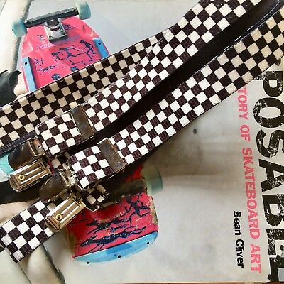 Vintage Checkerboard Suspenders with Silver Clasps unisex 90s braces