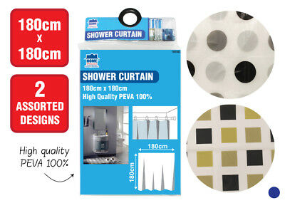 Shower Curtain with Ring Hooks Bathroom Shower Curtain 180 x 180 cm PVEA QUALITY