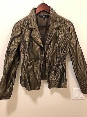 Carmen Marc Valvo Collection Jacket Size 12 Metallic Olive Gold