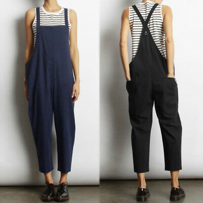 Women Back Cross Bib Pants Dungarees Playsuit Jumpsuit Baggy Plus Size Overalls