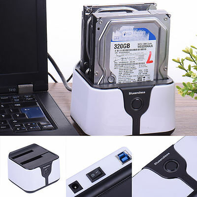 "USB 3.0 SATA Docking Station 2.5"" 3.5"" HDD SATA Dock Hard Drive Reader Enclosure"