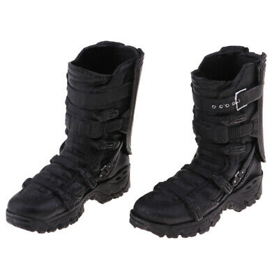 1/6 Male Black High Ankle Boots for 12'' Action Phicen Body Doll Accessories