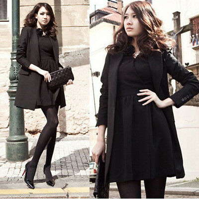 AU 10-24 Women Winter Plus Size Black Tunic Coat Jacket Cape Trench Suit Blazer
