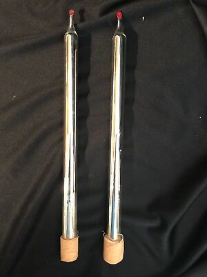 """Pair 2 ANTIQUE Vintage MERCURY GLASS 12"""" Silver Taper CANDLES for CANDLE HOLDER"""