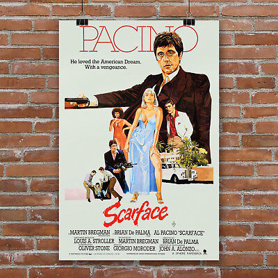 Scarface Movie Poster Art Canvas Print  Al Pacino Wall Decor Mob Gangster