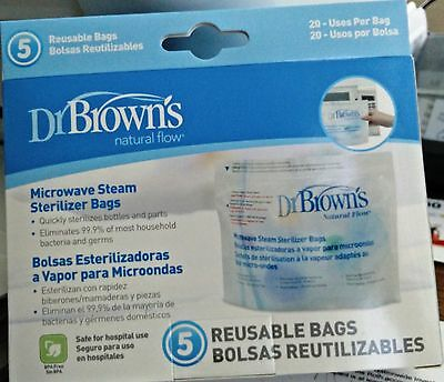 Dr Brown's Microwave Steam Sterilizer Bags (5 Reusable Bags - 20 Uses Per Bag)