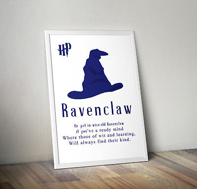 Harry potter print, poster, Ravenclaw, quote, wall art, gift, party, Hogwarts