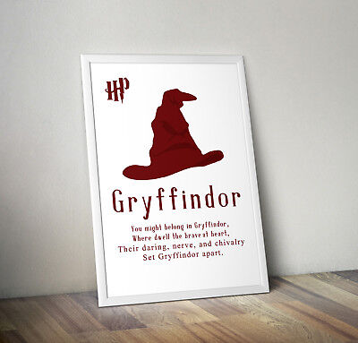 Harry potter print, poster, gryffindor, quote, wall art, gift, party, Hogwarts