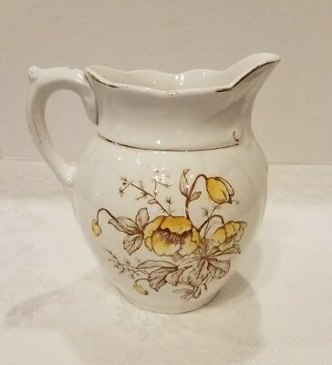 Vintage Warwick Semi Porcelain Pitcher Yellow Floral with Gold Accent