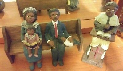African American Figurine Family Sitting in ChurchPew & Pastor at Pulpit EUC