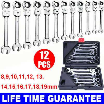 12PCS 8-19MM Ratchet Spanner Tool Set Flexible Ratcheting Wrench Spanners Garage
