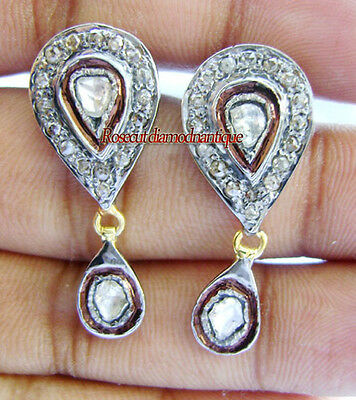 HAND-MADE 1.04ct ANTIQUE ROSE CUT DIAMOND VINTAGE POLKI EARRINGS FOR PARTY WEAR