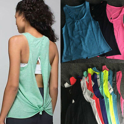 AU Women Gym Yoga Vest Sports Running Shirts Singlet Fitness Exercise Tank Top