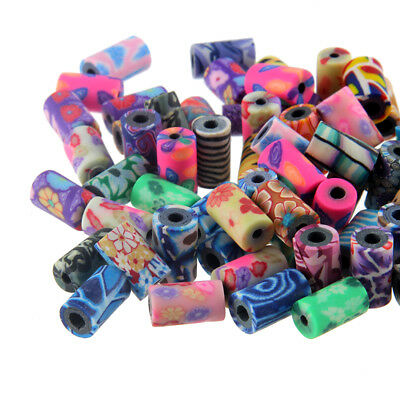 50x Mixed Flower Printed Cylinder Polymer Clay Loose Beads Charm 9*4mm DIY Craft
