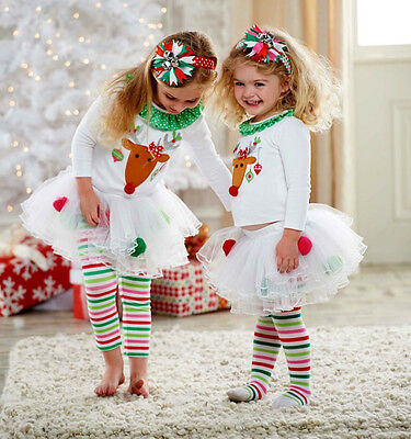 UK My First Christmas Toddler Baby Girl Tops Tulle Tutu Leggings Pants Outfits