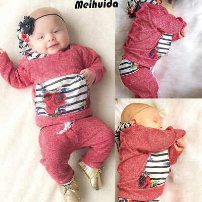 Newborn Toddler Infant Kid Baby Boy Girl Clothes T-shirt Tops+Pantst Outfits Set