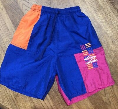 Vintage Rare 80s 90s Umbro Neon Color Block Embroidered Soccer Run Shorts Youth
