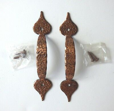 2 Hammered Copper Drawer Pulls Cabinet Handles Mid Century W