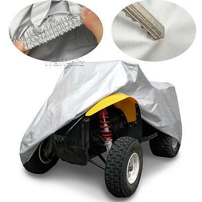 XL Size Silver Quad Bike Silver Waterproof Heatproof ATV Cover with Storage Bag