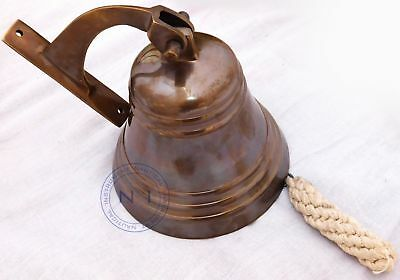 Nautical Hanging Door Bell Maritime Brass Ship Bell with Wall Mounted Bracket