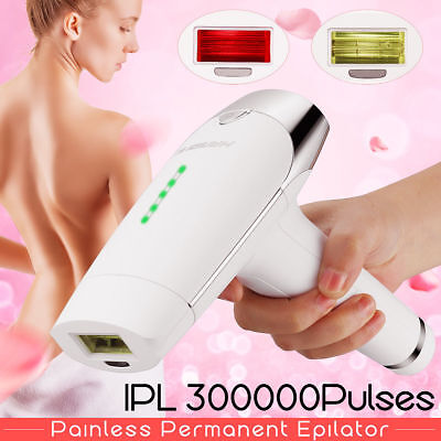 IPL Permanent Hair Laser Acne Removal Body & Face Home 300,000 Pulses + 2 Head A