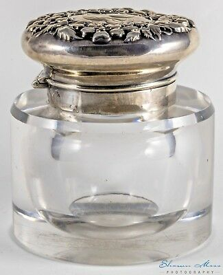 """Antique Gorham Sterling Silver  Floral Repousse 3½""""  Round Inkwell"""