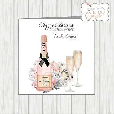 Personalised Wedding Anniversary Card Pink Rose Gold Champagne Flowers Glasses