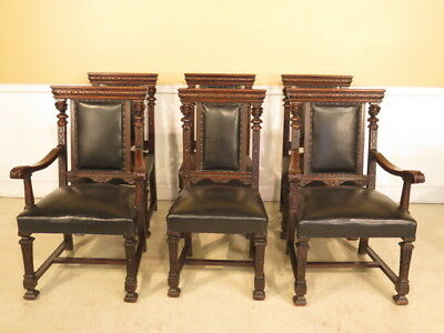 F23840H: Antique Set 6 Carved Oak Dining Room Chairs w. Figures