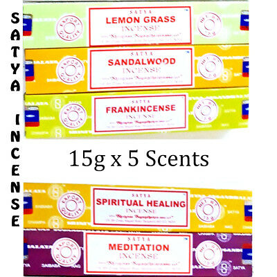 Satya Incense Sticks 15g X 5 Scent Box Pack Home Yoga Fragrance Relax Floral