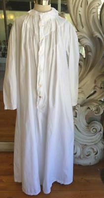 Antique White Cotton Full Length Nightgown Cutwork Embroidery Generous Size