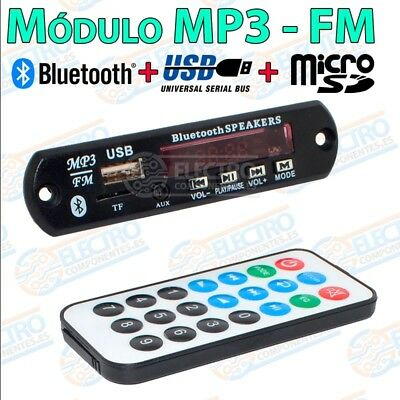 Modulo reproductor MP3 Bluetooth Radio FM USB + Tarjeta Micro SD Mando distancia