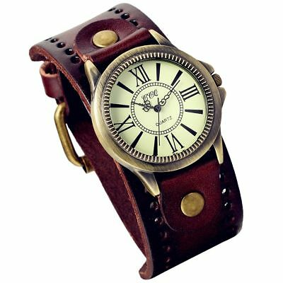Lancardo Vintage Leather Bracelet Watch With Antique Brass Bronze Tone Bezel(Bro