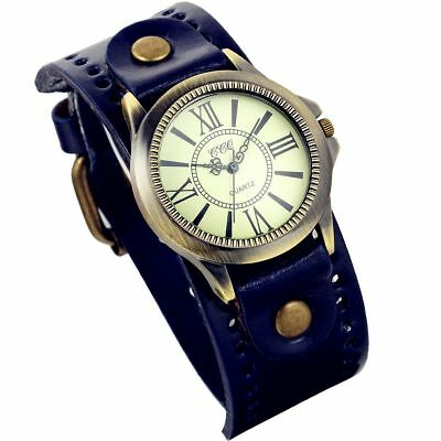 Lancardo Vintage Leather Bracelet Watch With Antique Brass Bronze Tone Bezel(Blu