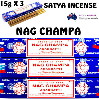 Nag Champa Incense Sticks Satya Sai Baba 15g x 3 Box Pack Original Scent Insence