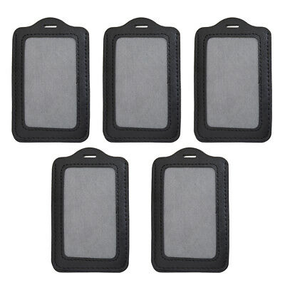 5x Vertical ID Badge Holder PU Leather Black for Pass Card Pouch Case