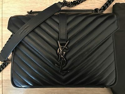 YSL YVES SAINT  LAURENT College Monogram medium Bag black -  485.00    PicClick 2117f856da
