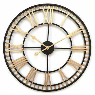 Large LONDON Wall Clock Black Gold Wrought Iron Metal Open Face Roman Numerals