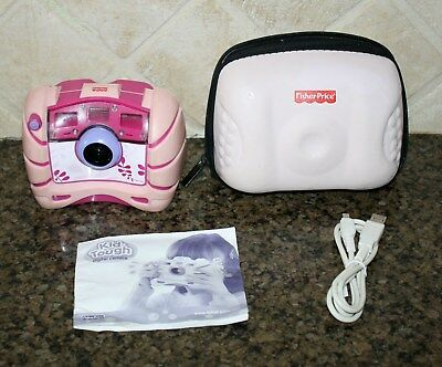 Fisher Price KID TOUGH Digital Camera PINK w/ Case Instructions Cable WORKS