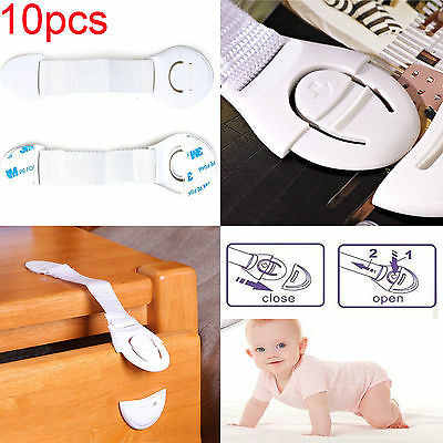 10pcs Portable Kid Safty Lock Adhesive Safety Locks Latches for Fridge (White)