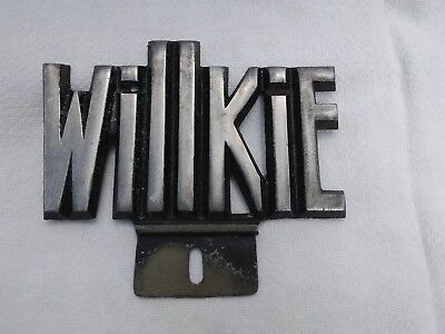 Antique License Plate Topper Willkie 1930s Large Cast Aluminum USA Wilkie Great!